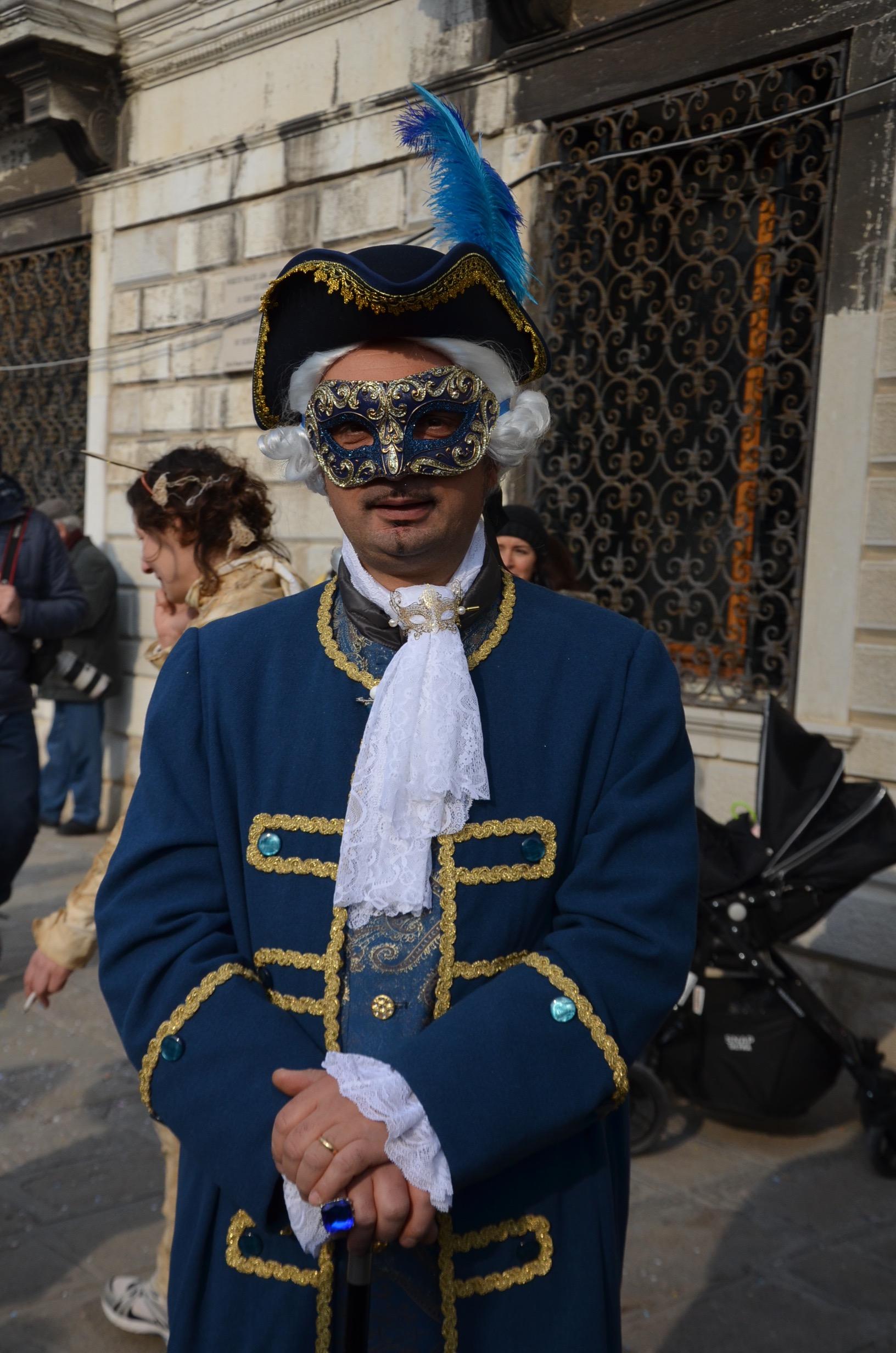 Man in blue Carnival Costume in Venice