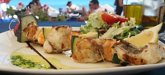 Food Art: Spanish beach bar food: prawn & monkfish kebabs, by Steve Homer
