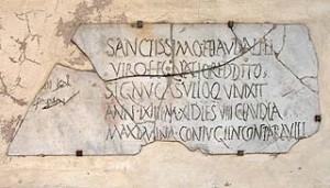 Ancient Roman etched gravestone in Santa Maria in Trastevere