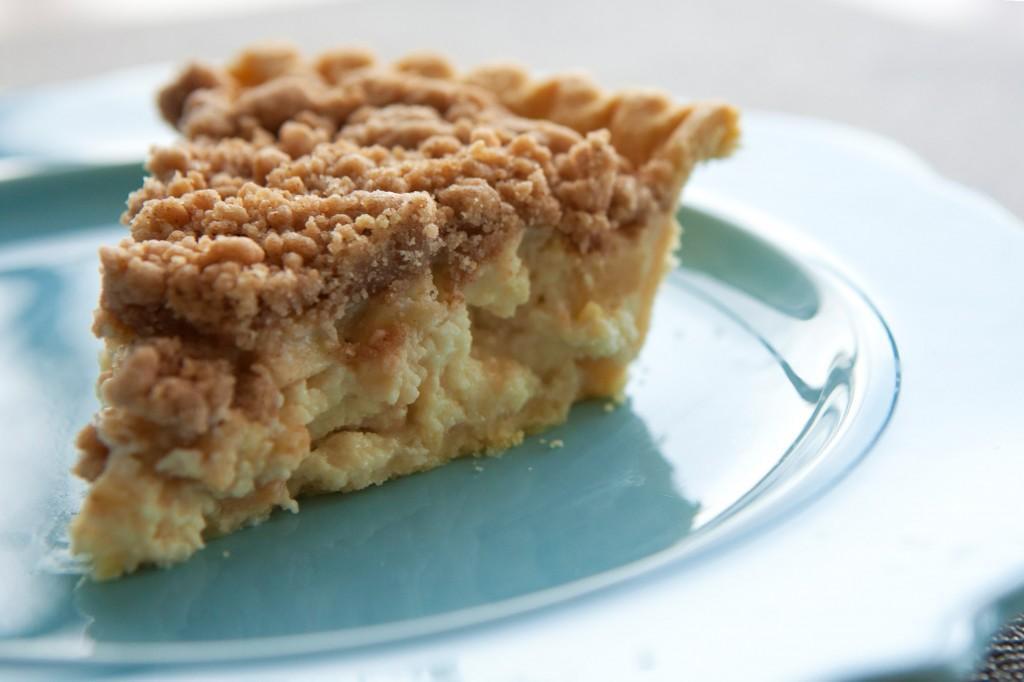 Shaker-style apple custard oatmeal pie