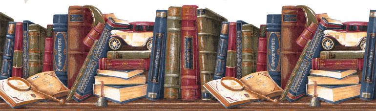 library shelf antique books wallpaper border