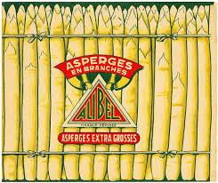 vintage white asparagus label