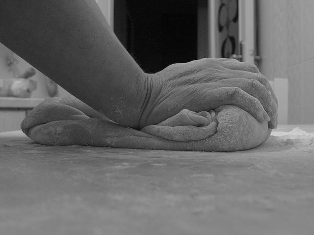 Making dough for struffoli Italian Neapolitan Christmas fritters